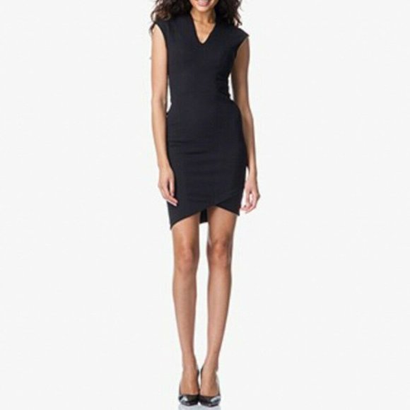 Helmut Lang Black Sheath Asymmetrical Dress